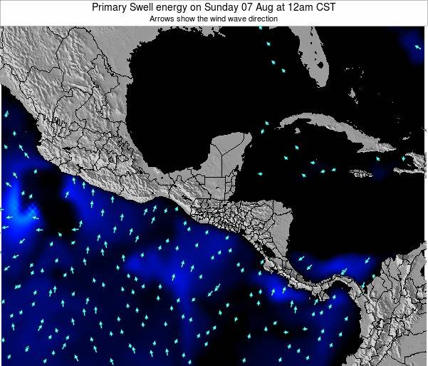 Honduras Primary Swell energy on Thursday 21 Jun at 6pm CST map