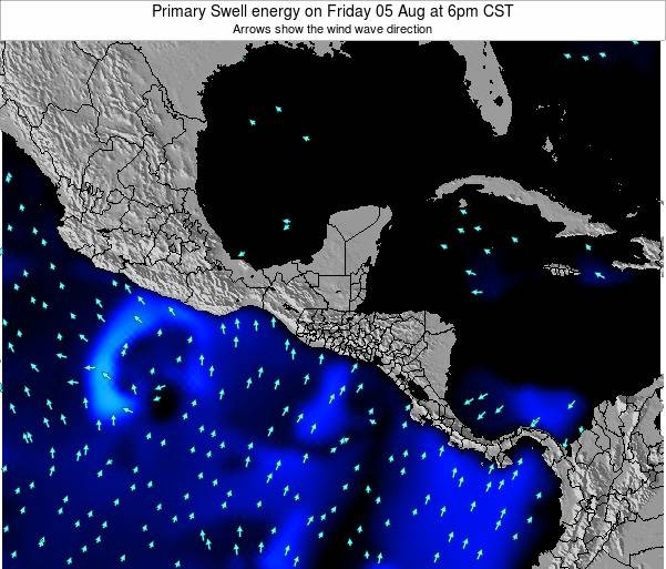 Honduras Primary Swell energy on Saturday 25 May at 6pm CST
