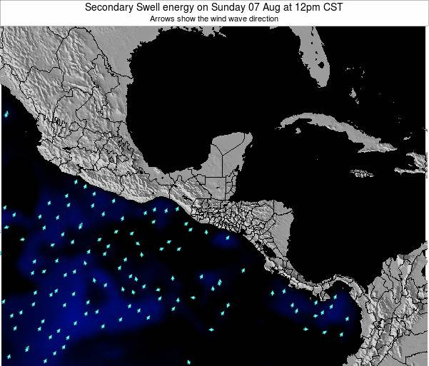 Honduras Secondary Swell energy on Wednesday 30 Jul at 6pm CST