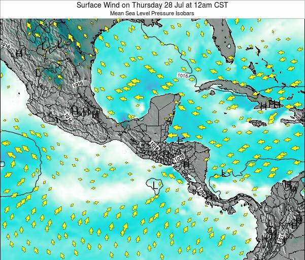Panama Surface Wind on Saturday 25 May at 12pm CST