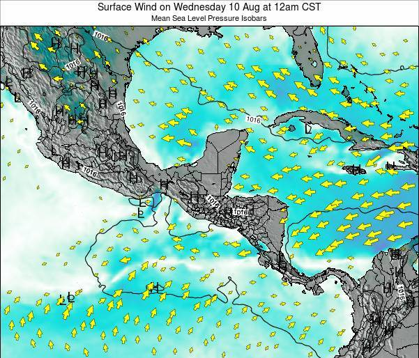 Panama Surface Wind on Tuesday 05 Aug at 6am CST