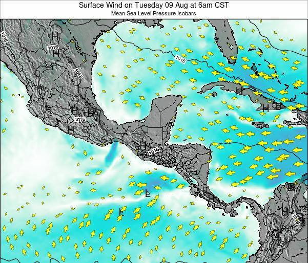 Panama Surface Wind on Sunday 16 Mar at 12am CST