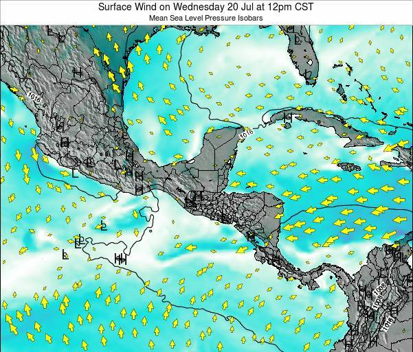 Panama Surface Wind on Friday 01 May at 12pm CST