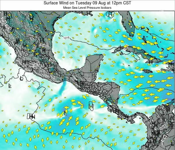 Panama Surface Wind on Sunday 24 Aug at 6pm CST