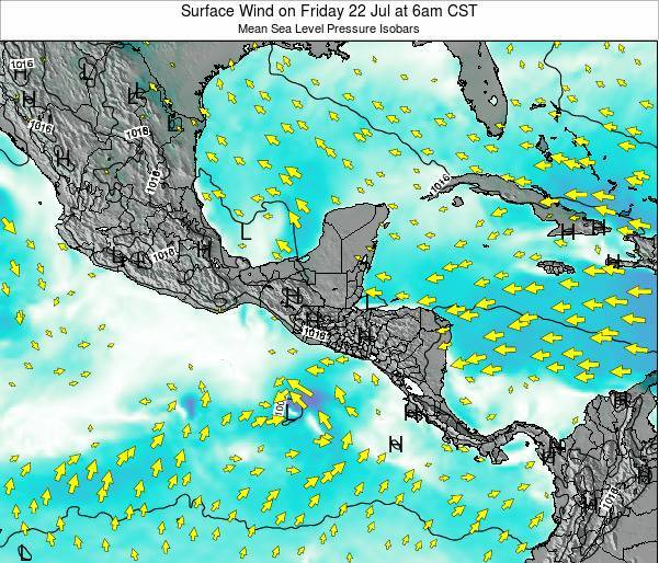 Panama Surface Wind on Monday 21 Apr at 12am CST
