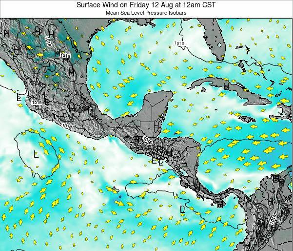 Panama Surface Wind on Tuesday 04 Aug at 6pm CST