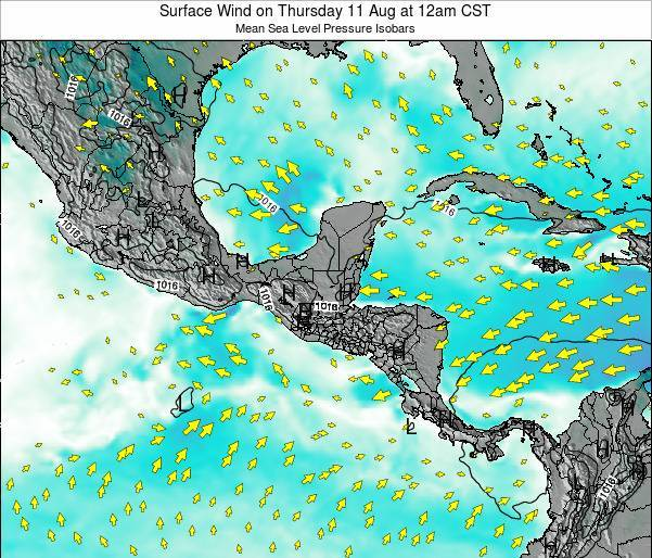 Panama Surface Wind on Thursday 13 Mar at 6am CST