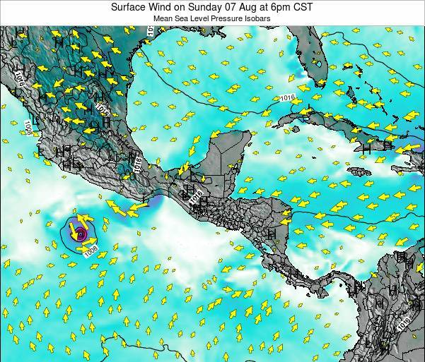 Panama Surface Wind on Thursday 31 Jul at 12pm CST