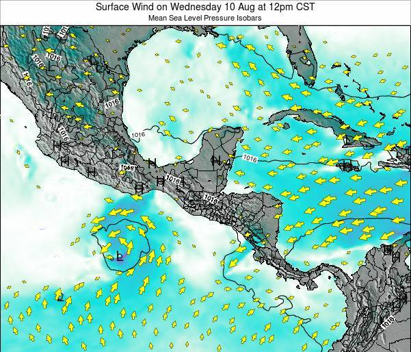 Panama Surface Wind on Tuesday 29 Apr at 12am CST
