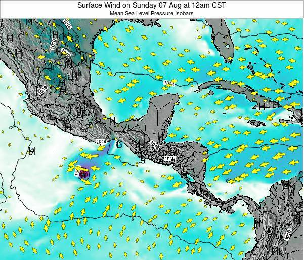 Panama Surface Wind on Wednesday 06 Aug at 12pm CST