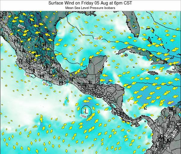 Panama Surface Wind on Wednesday 23 Apr at 6am CST