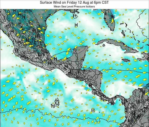 Panama Surface Wind on Friday 25 Apr at 12am CST