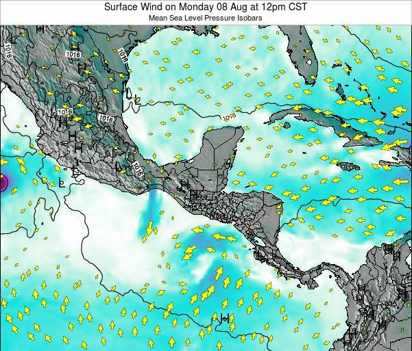 Panama Surface Wind on Friday 14 Mar at 6pm CST