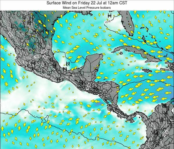Panama Surface Wind on Thursday 12 Dec at 12am CST