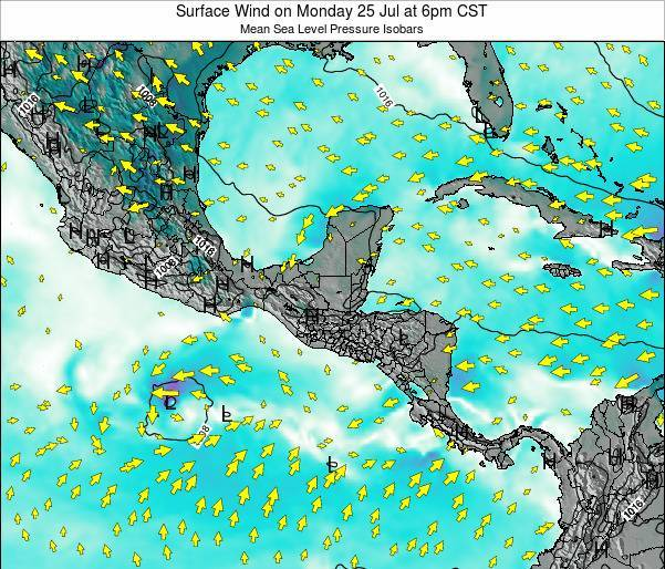 Panama Surface Wind on Tuesday 05 Aug at 12am CST