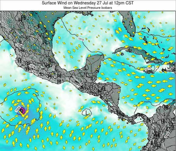 Panama Surface Wind on Saturday 29 Apr at 12pm CST
