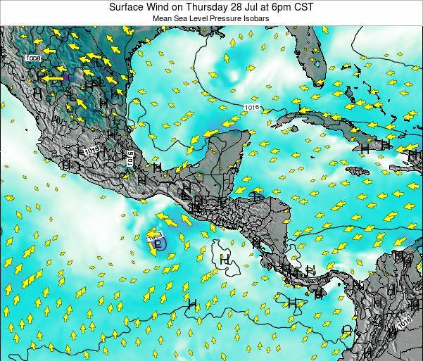 Panama Surface Wind on Sunday 16 Mar at 6am CST