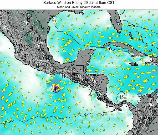 Panama Surface Wind on Sunday 26 Oct at 12pm CST