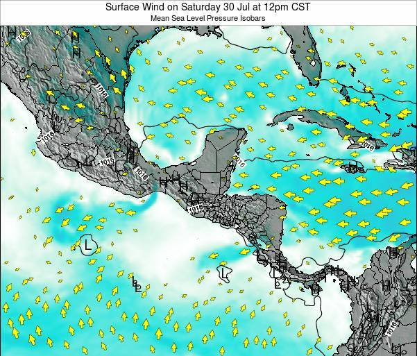 Panama Surface Wind on Monday 28 Jul at 6am CST