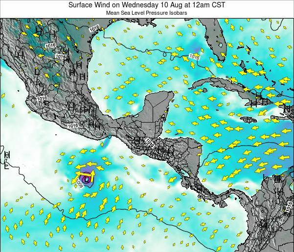Panama Surface Wind on Wednesday 30 Apr at 6am CST