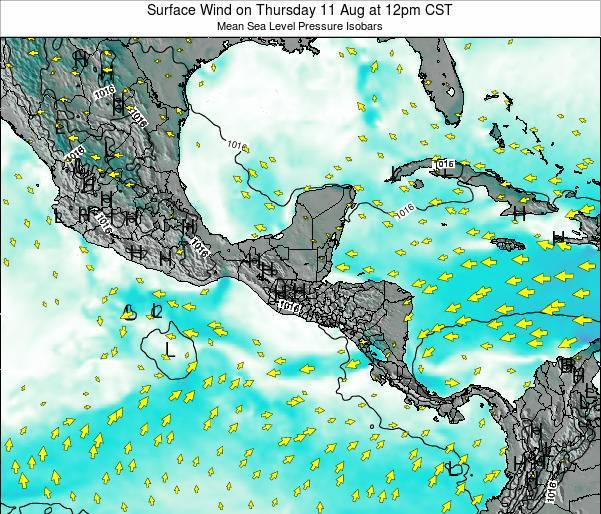 Panama Surface Wind on Sunday 06 Dec at 12am CST