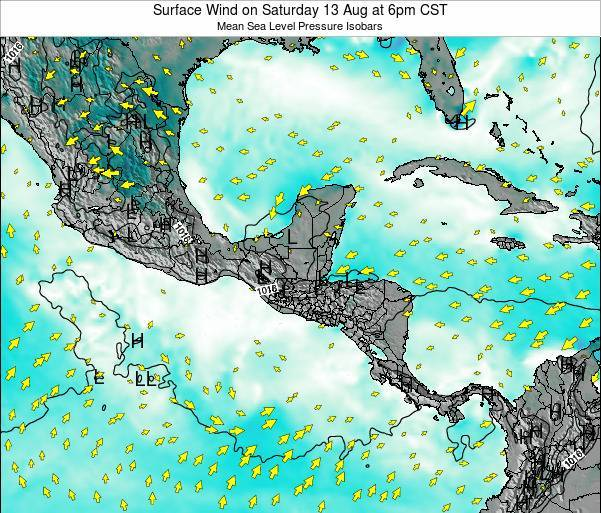 Panama Surface Wind on Tuesday 24 Dec at 12am CST