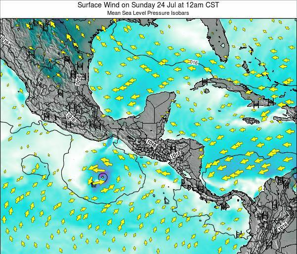 Panama Surface Wind on Sunday 11 Dec at 6pm CST