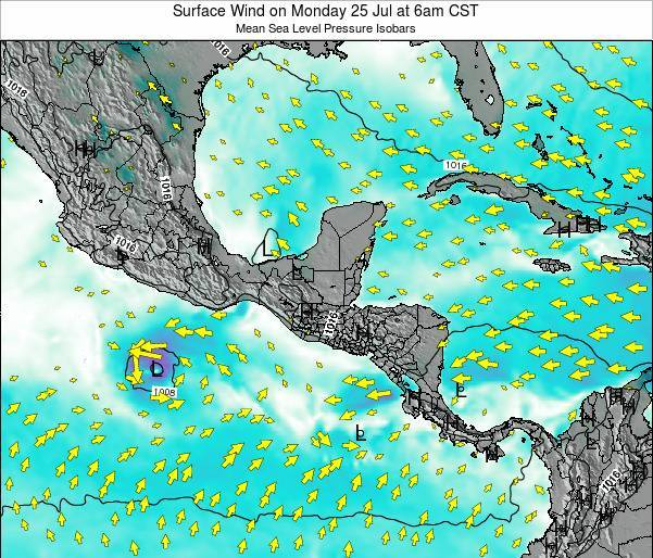Panama Surface Wind on Sunday 01 Jul at 12am CST map