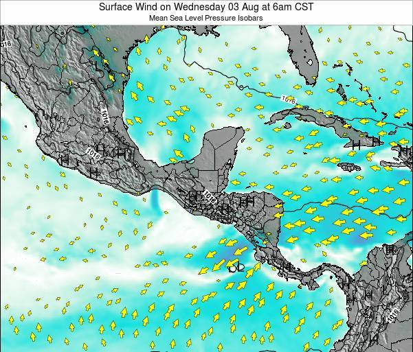 Panama Surface Wind on Wednesday 06 Aug at 6pm CST