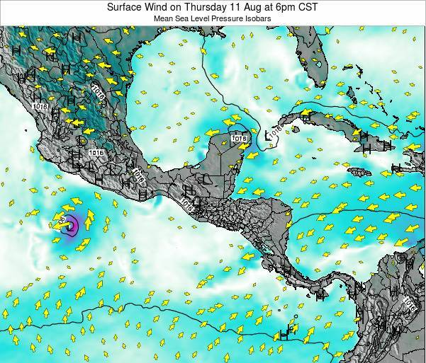 Panama Surface Wind on Sunday 02 Apr at 6pm CST