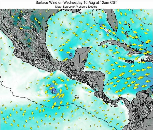 Panama Surface Wind on Wednesday 23 Apr at 6pm CST