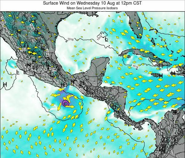 Panama Surface Wind on Saturday 01 Jun at 12am CST