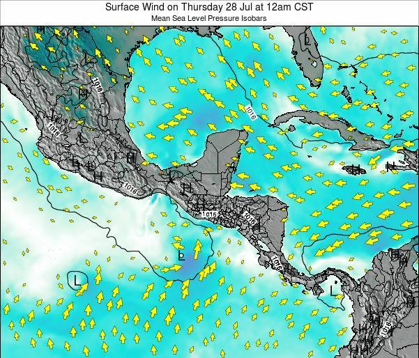 Panama Surface Wind on Friday 08 Aug at 6am CST