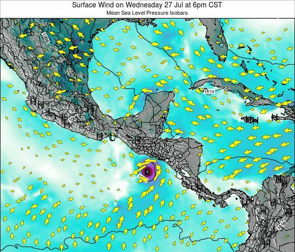 Panama Surface Wind on Tuesday 26 Aug at 12pm CST