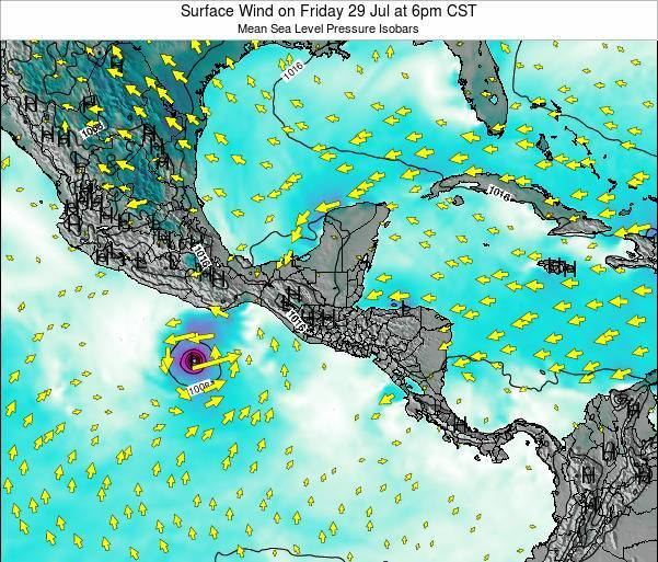 Panama Surface Wind on Tuesday 29 Apr at 6pm CST