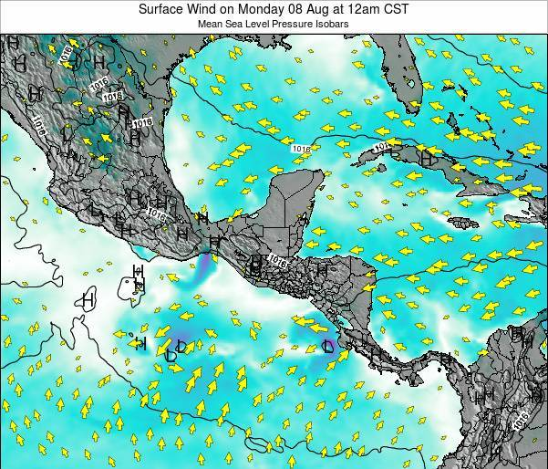 Panama Surface Wind on Friday 01 Aug at 6pm CST