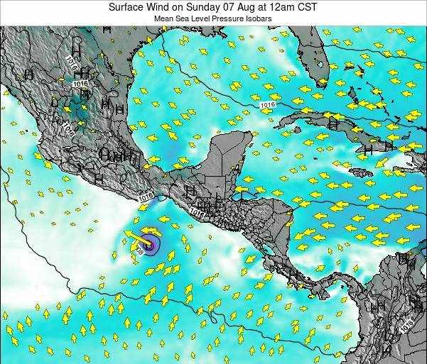 Panama Surface Wind on Thursday 24 Apr at 6pm CST