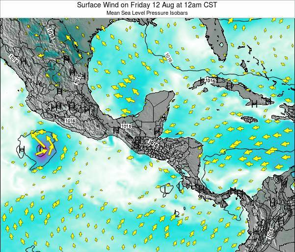 Panama Surface Wind on Tuesday 18 Mar at 6pm CST