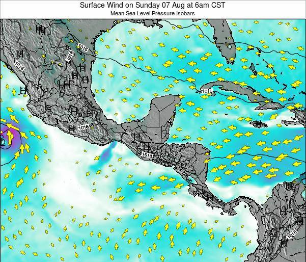 Costa Rica Surface Wind on Saturday 25 May at 6am CST