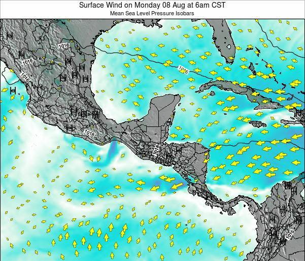 Costa Rica Surface Wind on Thursday 20 Jun at 6am CST