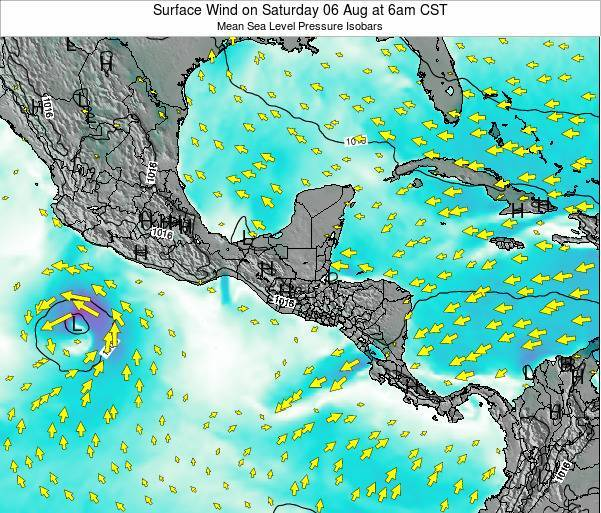 Panama Surface Wind on Friday 13 Dec at 12pm CST