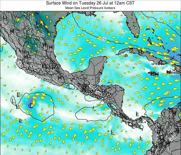 Panama Surface Wind on Thursday 20 Jun at 6pm CST