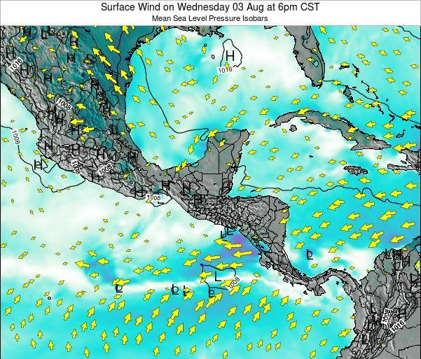 Panama Surface Wind on Thursday 24 Apr at 12pm CST