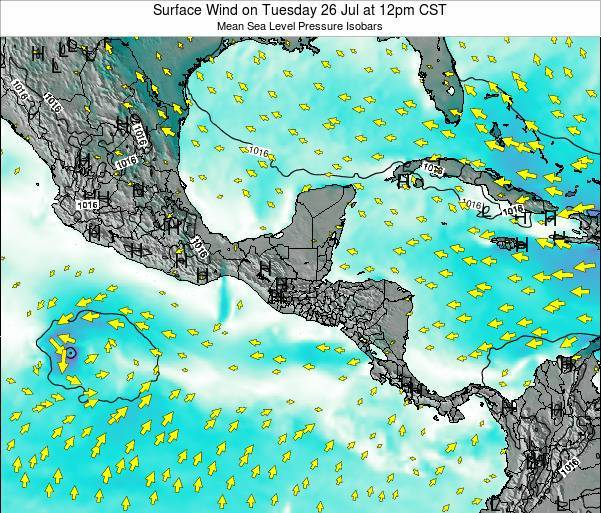 Panama Surface Wind on Saturday 01 Nov at 6am CST
