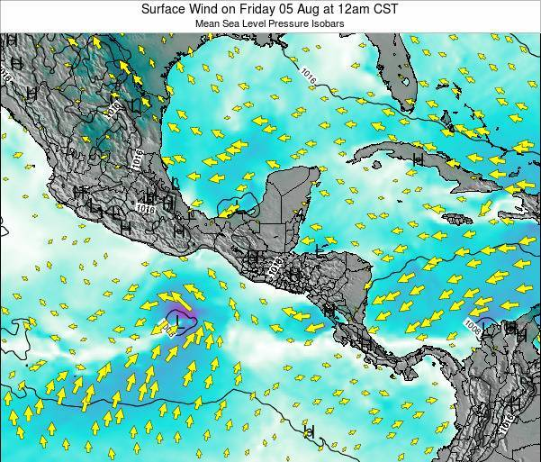 Panama Surface Wind on Thursday 17 Apr at 6am CST