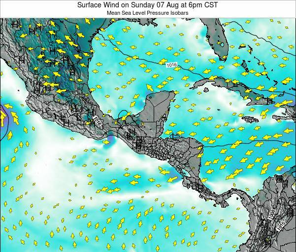 Panama Surface Wind on Friday 12 Feb at 12pm CST