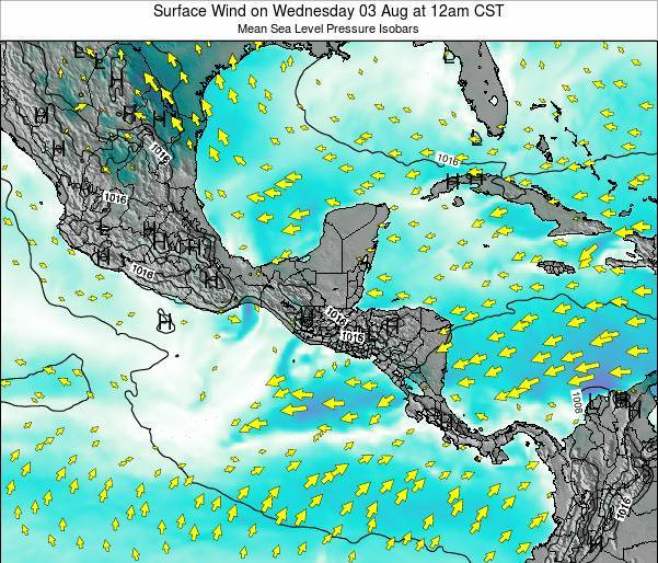 Panama Surface Wind on Friday 01 Aug at 12am CST