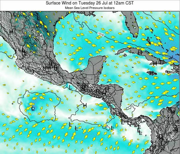 Costa Rica Surface Wind on Friday 21 Jun at 6am CST