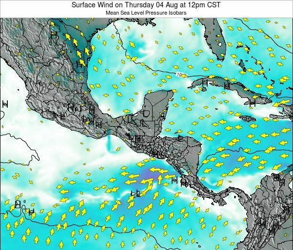 Costa Rica Surface Wind on Sunday 26 May at 6pm CST