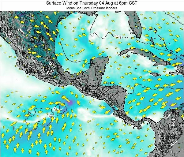 Panama Surface Wind on Tuesday 11 Mar at 6am CST